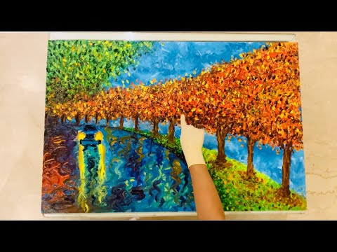 Finger Painting Rainy Scenery Demo | Car in Beautiful Rainy Abstract Scenery | Canvas Painting |