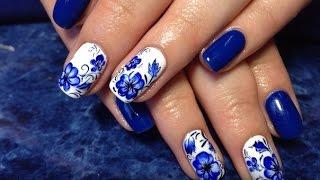 Маникюр гжель роспись ногтей