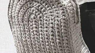 كروشيه شنطة ظهر بخيط السلسلة/ كروشيه شنطة باك مدرسة بخيط السلسلة  crochet backpack  bag