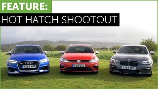 Hot Hatch Shootout - BMW M140i vs Audi RS3 vs VW Golf R w/ Tiff Needell and Ryan Cullen