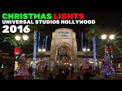 Christmas lights nighttime at Universal Studios Hollywood 2016