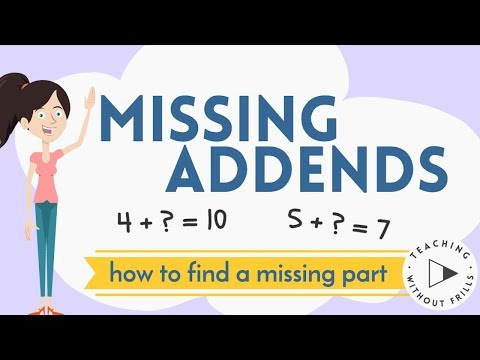 Missing Addends Finding A Missing Part For Kids Youtube