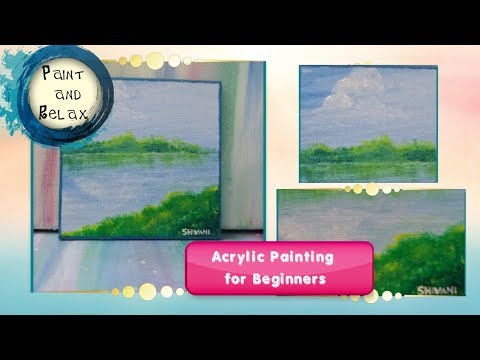 Simple and easy landscape acrylic painting for beginners | time lapse | mini canvas painting 1