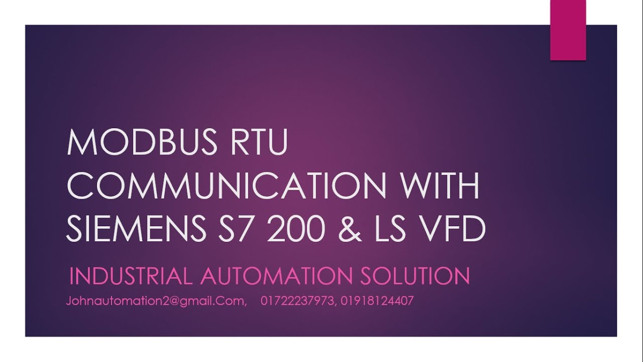MODBUS RTU COMMUNICATION WITH SIEMENS S7 200 & LS IG5A VFD - YouTube
