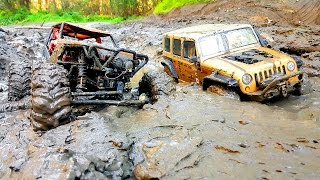 Repeat youtube video RC Extreme Pictures — RC Cars OFF Road 4x4 Adventure — Mudding 4x4 Trucks Jeep VS Axial Wraith