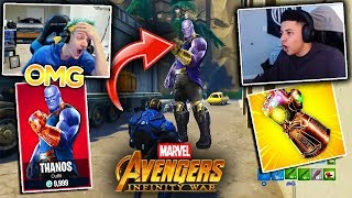 Streamers React To *RARE* Fortnite THANOS SKIN + INFINITY WAR MASHUP (Fortnite Moments)