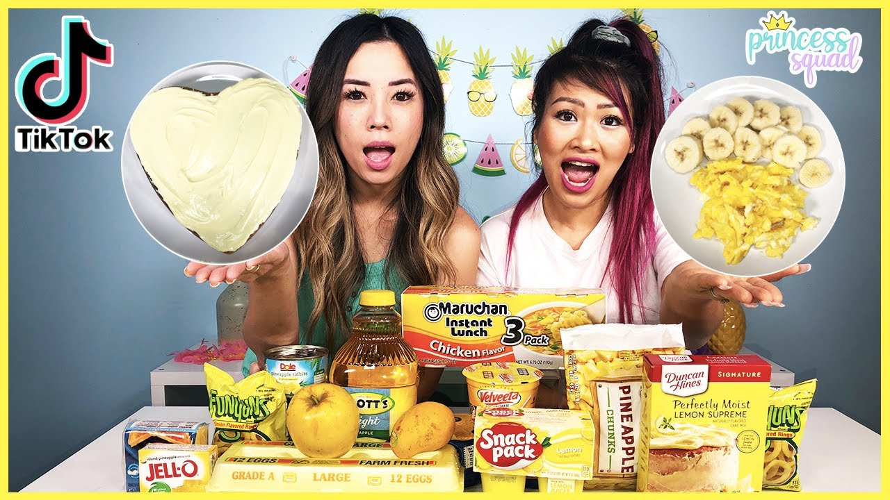 We Only Ate Yellow Foods for 24 Hours Challenge! TikTok Master Made Us!