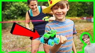 COOL MONSTER TRUCKS for KIDS RIDING on a TIGHTROPE with TRIX TRUX