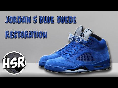 AIR JORDAN 5 RETRO BLUE SUEDE RESTORATION!!!