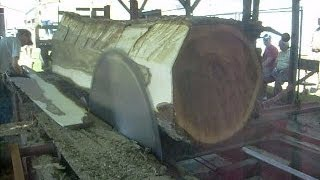"Steam Powered 1800s Circular Sawmill Sawing Huge 36"" Walnut log into 20 inch wide 5/4 boards"