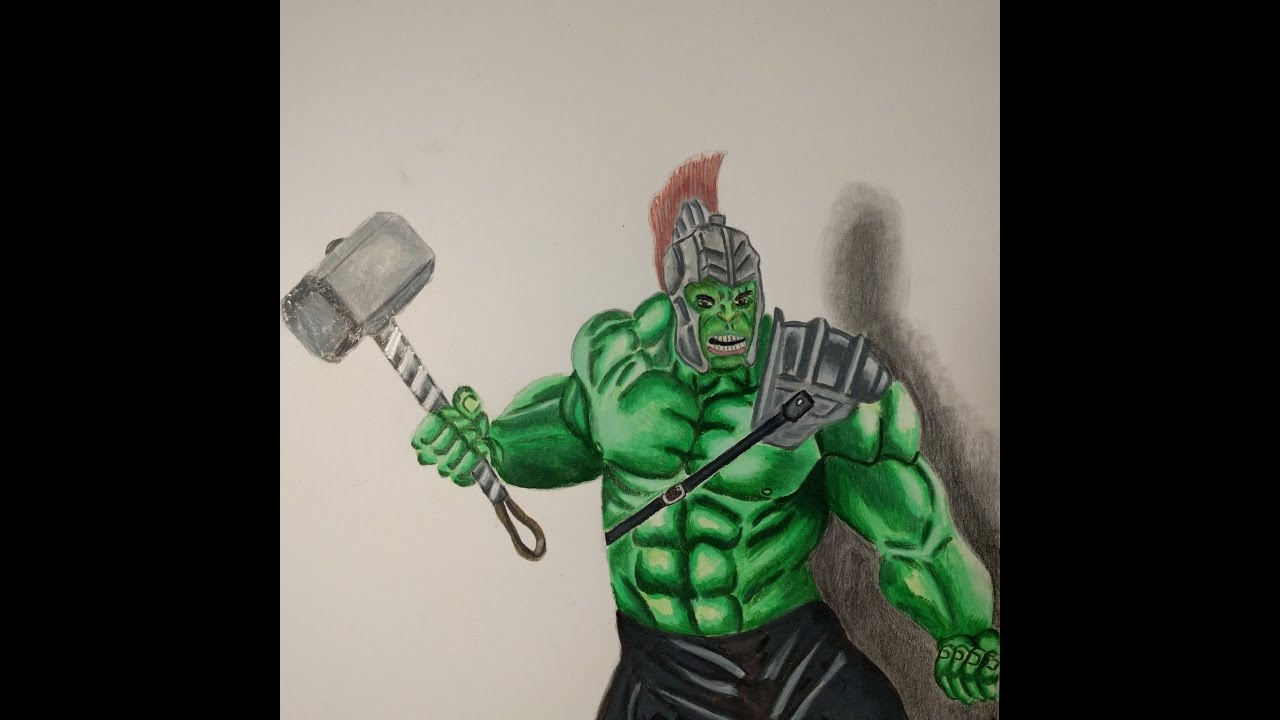 Hulk... Ragnarok (How To Draw The Hulk Time Lapse Drawing) - YouTube