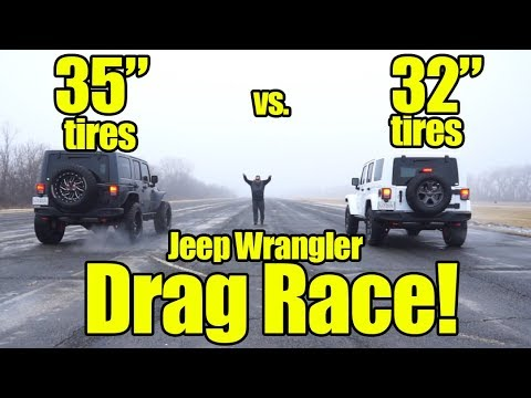 "How much slower is a Jeep Wrangler with 35"" tires vs Stock Tires? Find out with a Prize Fight!"