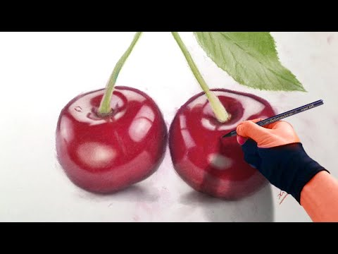Still Life - Drawing Cherries - Realism time-lapse Art Video
