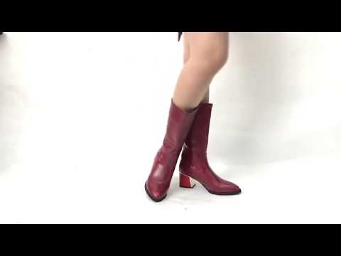 Block heel boots mid call leather booties women's riding shoes sb78#