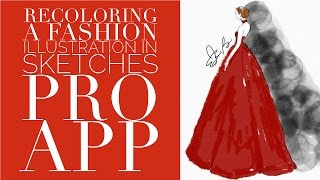 Apps for Fashion Illustrators Using Sketches Pro App to Recolor a Fashion Illustration
