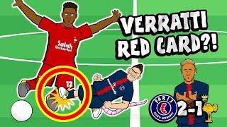 🔴VERRATTI RED CARD?!🔴 PSG vs Liverpool 2-1(Parody Goals Highlights Champions League Neymar Bernat)