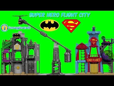 Imaginext Super Hero Flight City Wayne Manor Daily Planet Batman Superman Batgirl Nightwing Toys
