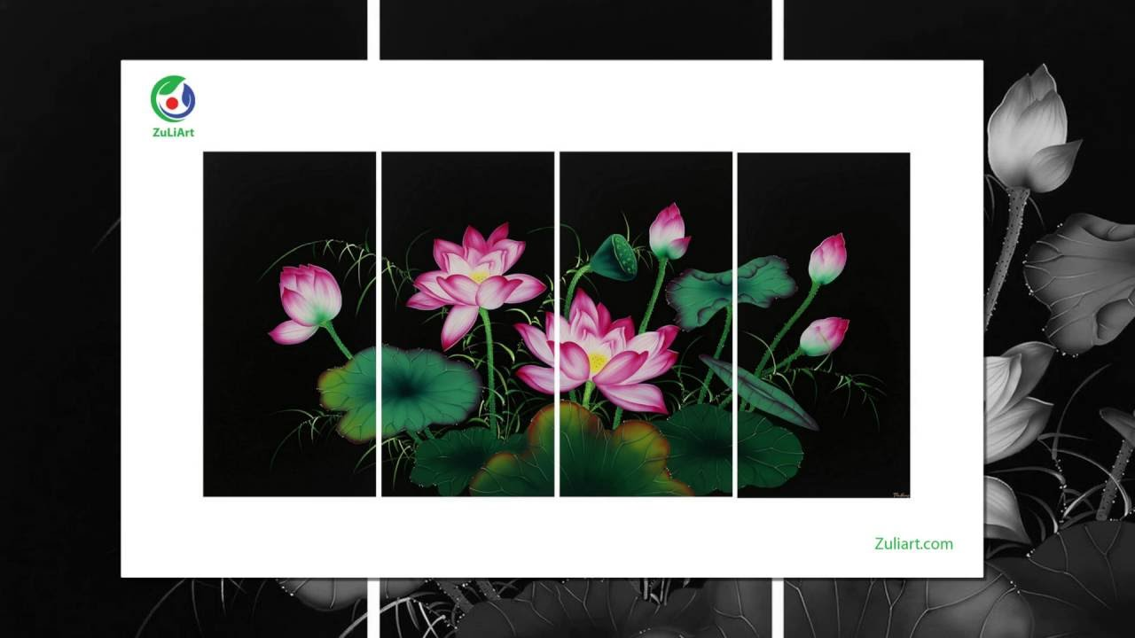 The Lively Set Of 4 Paintings Of The Lotus Vietnamese National