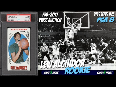 1969 Lew Alcindor rookie card for sale; graded PSA 8. PWCC Premier Auction #1