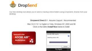 Install Adobe Air application using DropSend