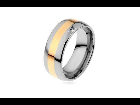 432c0cb27 Šperky – Wolframový prsten v dvoubarevném provedení - proužek zlaté barvy,  8 mm