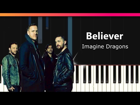 """Imagine Dragons - """"Believer"""" EASY Piano Tutorial - Chords - How To Play - Cover"""