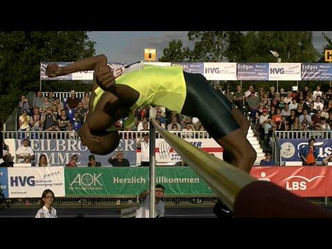 Mutaz Essa Barshim gewinnt das Männer-Springen Eberstadt 241cm 2014 08 22 Highlights