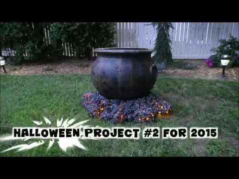 Halloween cauldron with crackling fire