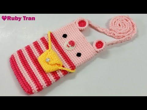 Hướng Dẫn Móc Túi Đựng Điện Thoại Bằng Len   Crochet Bag Phone Handmade