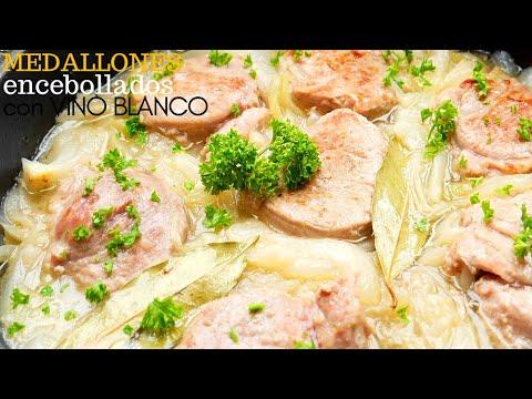 MEDALLONES 🥩😋 de  LOMO de cerdo 😋🥩 ENCEBOLLADOS (salsa de VINO BLANCO)