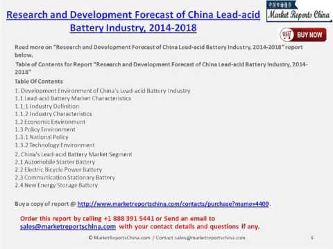 Chinese Lead-acid Battery Market to 2018