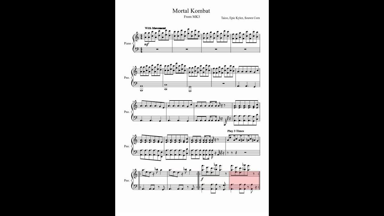 Piano immortals piano sheet music : Mortal Kombat [Sheet Music] - YouTube