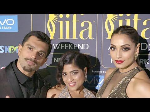 IIFA Awards 2017 Bipasha Basu & Karan Singh with RJ Malishka