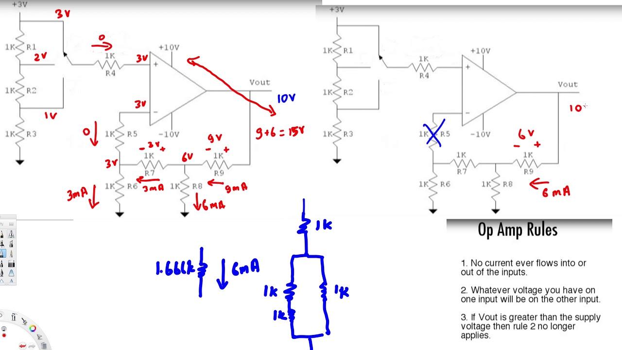 solving op amp circuits 2 circuit analysis youtube rh youtube com Op Amp Circuit Example Instrument Op Amp Circuit Example Instrument