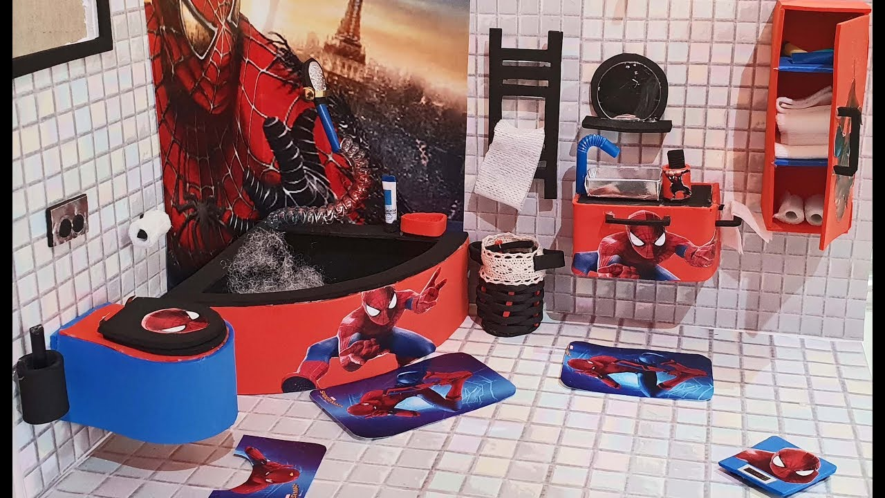 Diy Miniature Spiderman Dollhouse Bed Room Bathroom Youtube