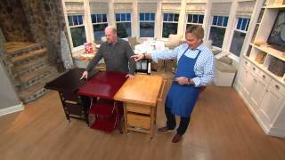 Folding Island Kitchen Cart With Extendable Shelves With David Venable