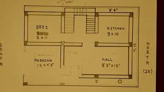 25 × 36 south face house plan map derails