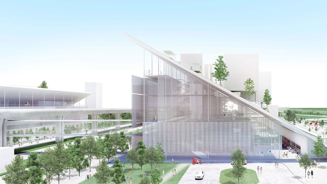 D Art Exhibition Taipei : Winning design for taiwan art museum features sloped green