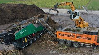 Broyage des déchets vert doppstadt DW-3060 Liebherr grue 316 Bio Centre de Grâce-Hollogne Intradel