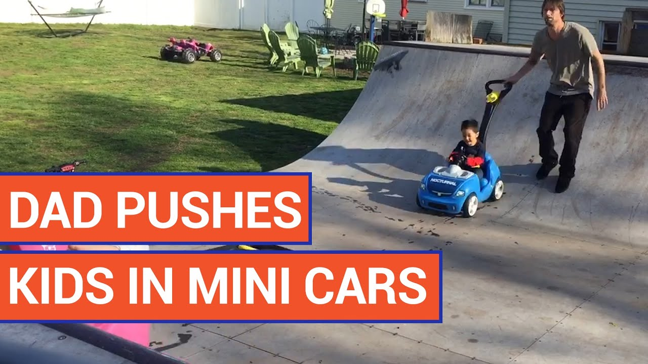 Playful Dad Pushes Kids in Mini Cars On A Ramp | Daily Heart Beat