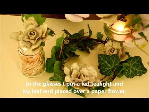 DIY Papierblumen und Efeukranz | DIY Paper flower and ivy wreath