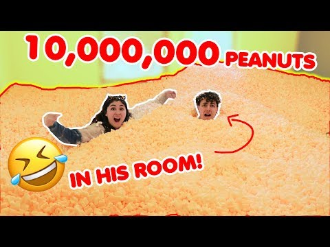 10,000,000 PEANUTS IN HIS ROOM PRANK! ~ Filled up the whole room!