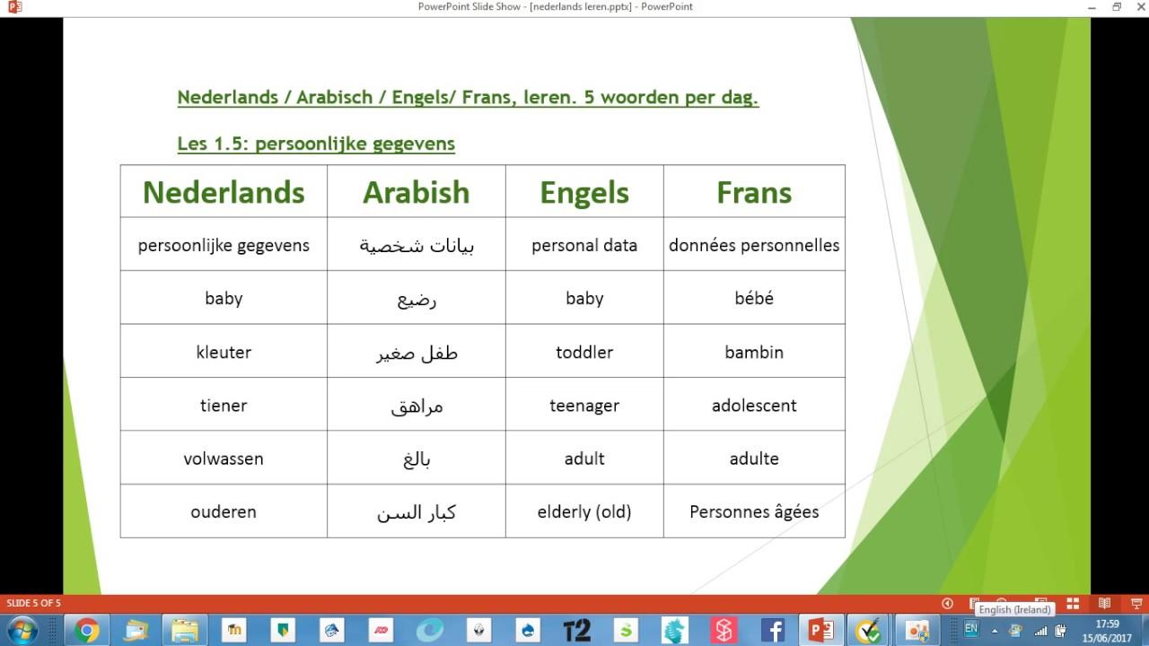 nederlands arabisch engels frans leren 5 woorden