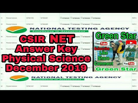 csir-net-physical-science-answer-key-december-2019-nta-#green-star