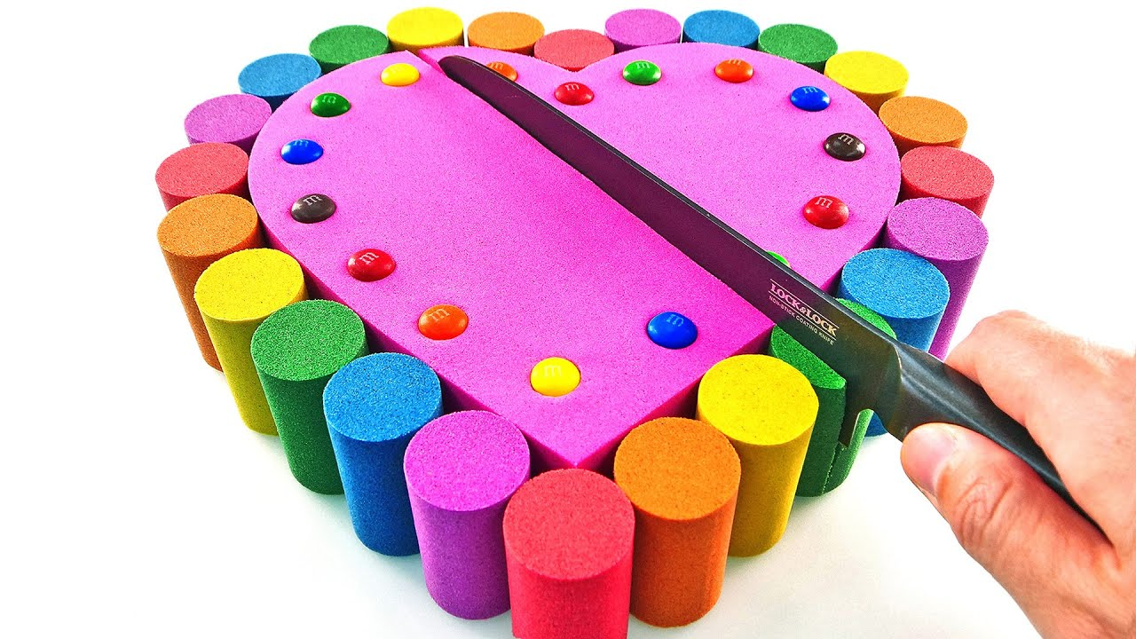 Satisfying Video l  Kinetic Sand Rainbow M&Ms Heart Cake Cutting ASMR #16 Rainbow ToyTocToc