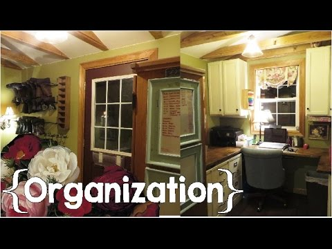 My Home Office & Back Door Entrance Tour ║ Large Family, Small House Organization