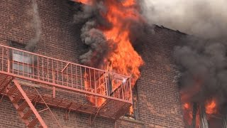 """PASSAIC NJ FIRE DEPARTMENT 7th ALARM FIRE """"FULL VIDEO"""" Heavy Fire in a 5 Story Apt Building"""