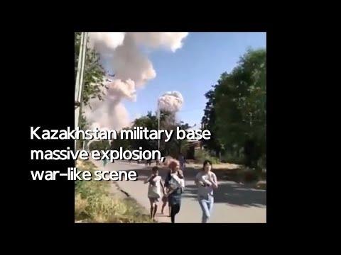 Real Footage, Kazakhstan military base massive explosion, war-like scene
