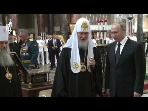 Orthodox Patriarch of Moscow receives President Putin in Navy's Kronstadt's Cathedral