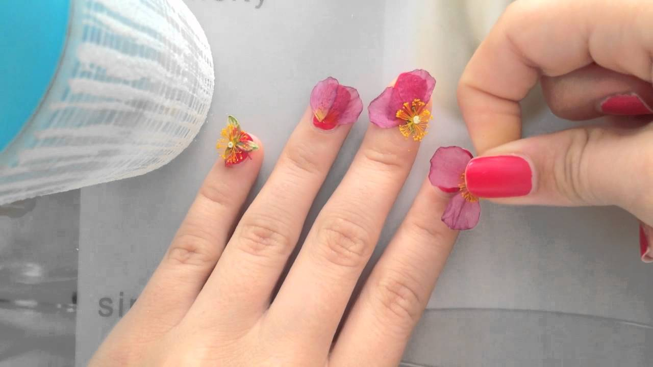 Real Flowers Nail Art Design Youtube